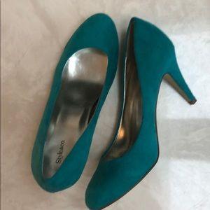 Teal faux suede heels